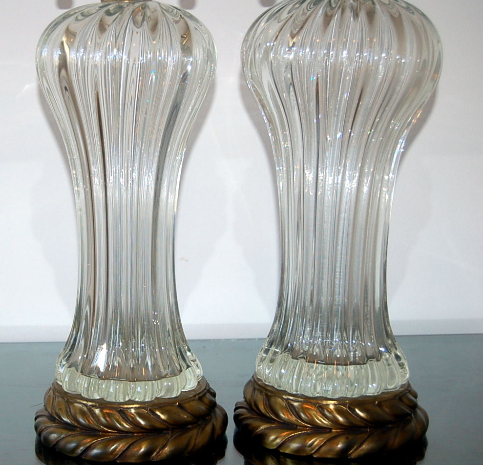 Vintage Murano Clear Glass Lamps By The Marbro Lamp