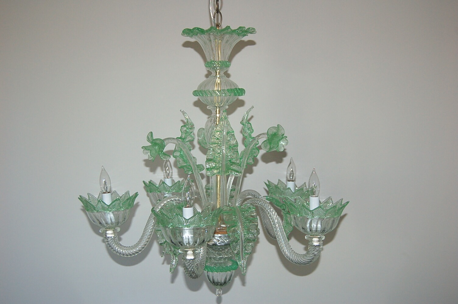 Vintage murano glass chandelier of clear opaline with green accents vintage murano glass chandelier of clear opaline with green accents mozeypictures Image collections