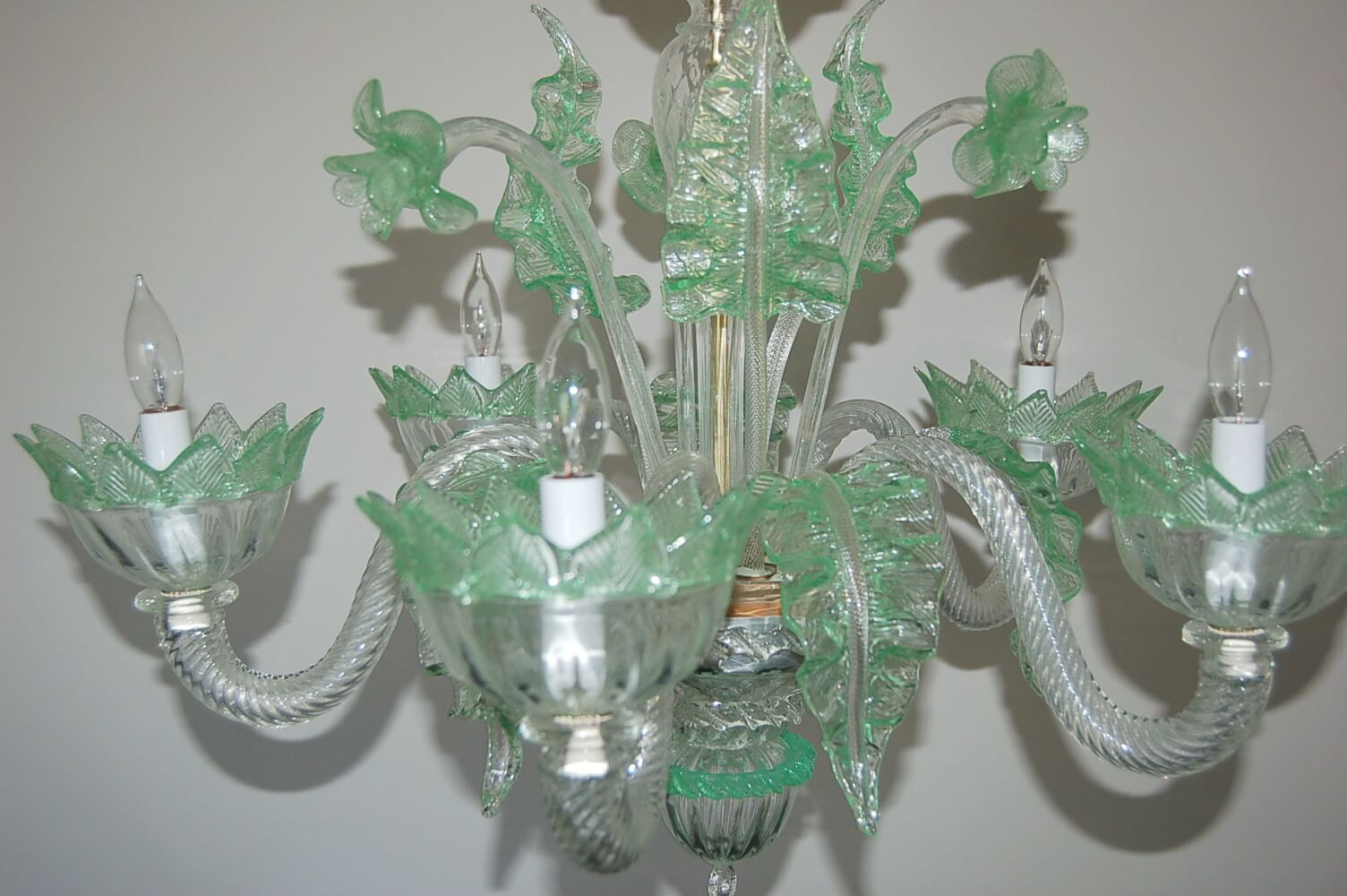 Vintage Murano Glass Chandelier Of Clear Opaline With