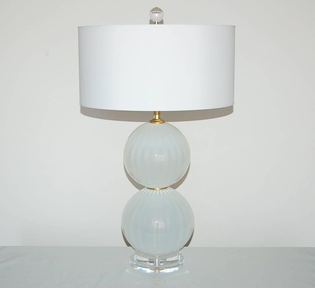 Pair Of Handblown Stacked Ball Lamps By Joe Cariati In Oyster White