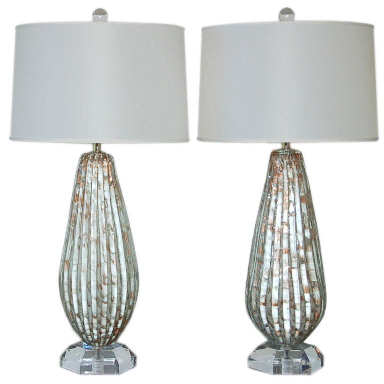 Glamorous murano table lamps of vanilla and copper swank lighting glamorous murano table aloadofball Choice Image