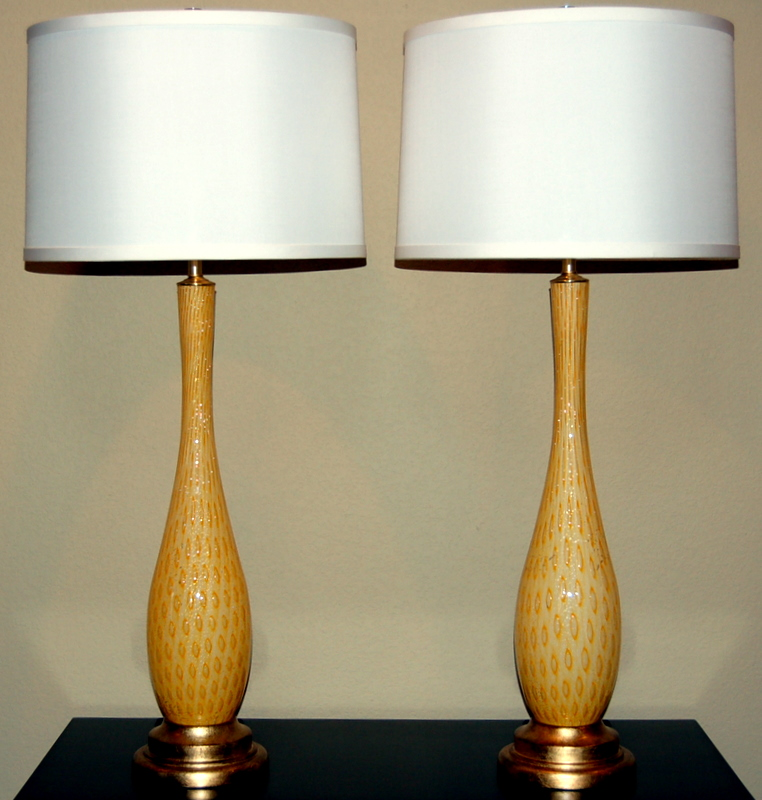 Vintage Murano Glass Table Lamps Orange Swank Lighting