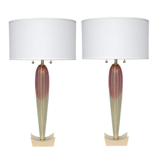 Barovier & Toso - Raspberry and Cream with Gold Vintage Murano Lamps