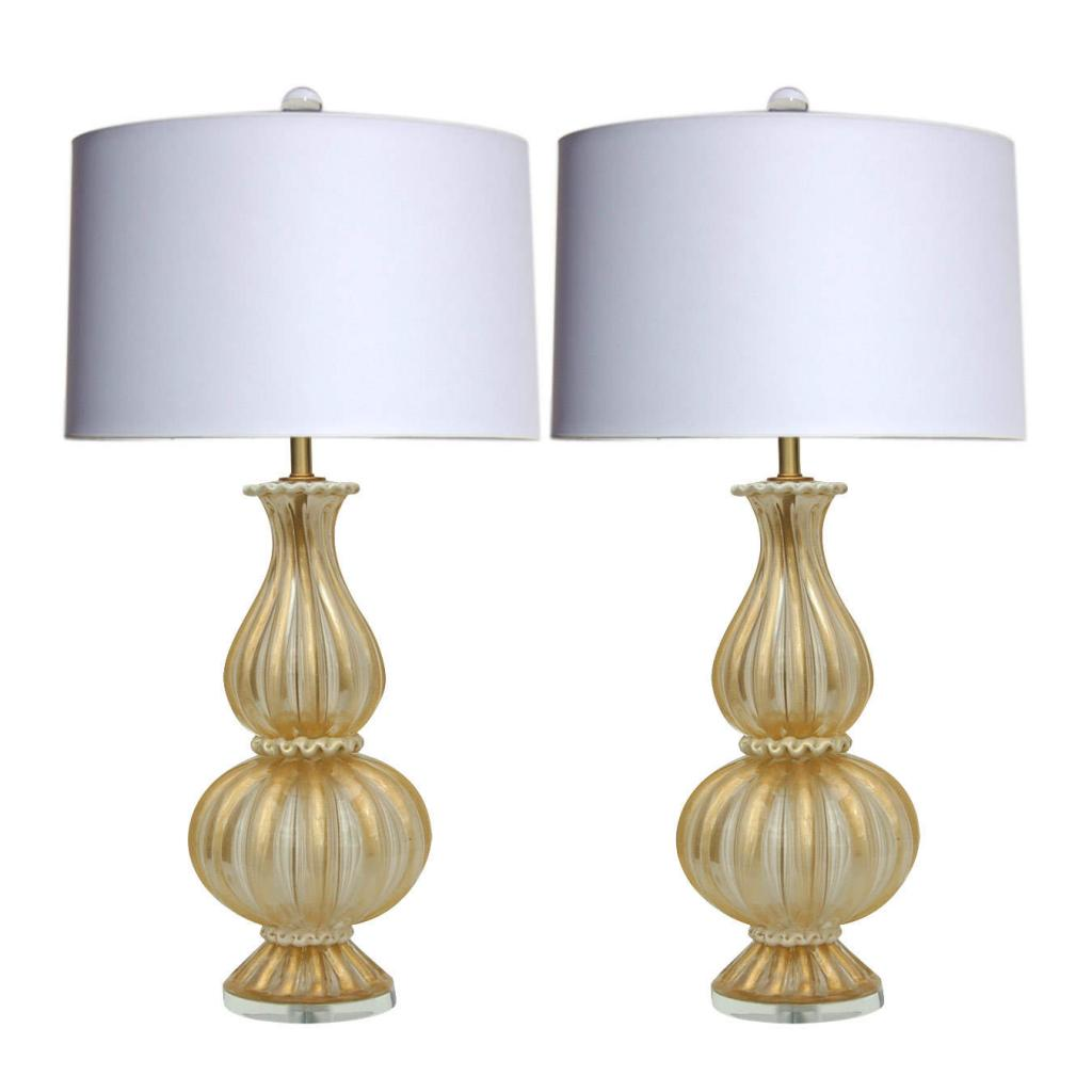 vintage murano glass table lamps gold champagne swank. Black Bedroom Furniture Sets. Home Design Ideas