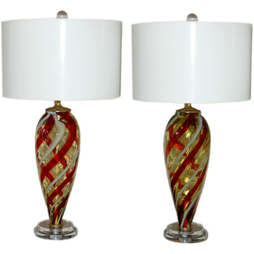 Vintage Murano Table Lamps in Butterscotch, Red, and White