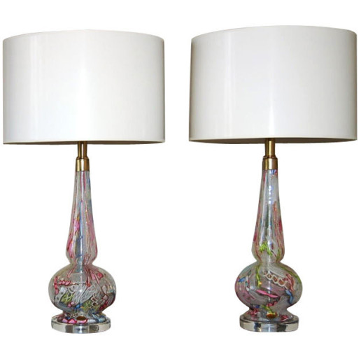 Dino Martens - Extremely Rare Pair of Tutti Frutti Table Lamps