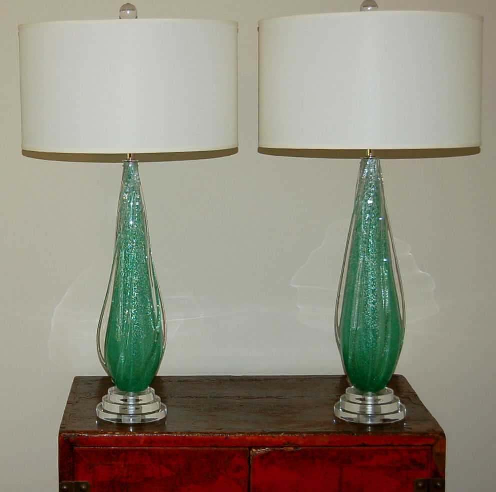 Vintage murano pulegoso glass table lamps green swank lighting vintage murano pulegoso glass table lamps green aloadofball Gallery