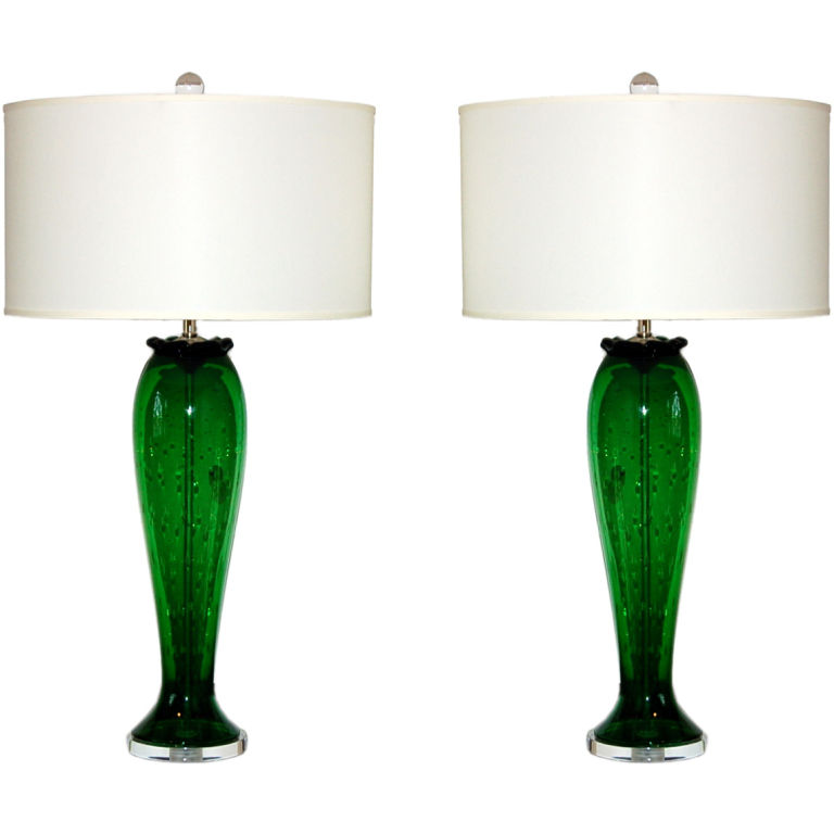 Vintage murano table lamps in green with controlled bubbles swank vintage murano table lamps in green with controlled bubbles aloadofball Images