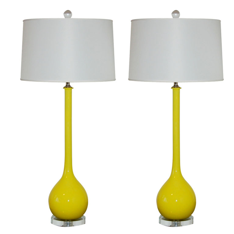 Captivating Extremely Rare Canary Yellow Vintage Murano Lamps