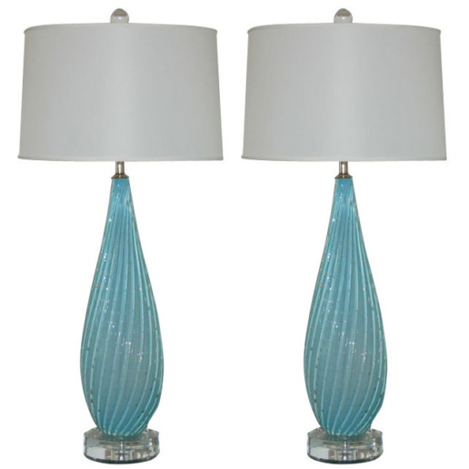 Murano Lamps of Sky Blue