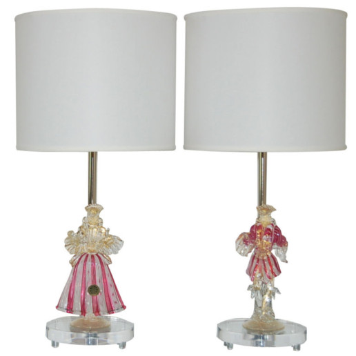 Murano Figurine Lamps in Cherry