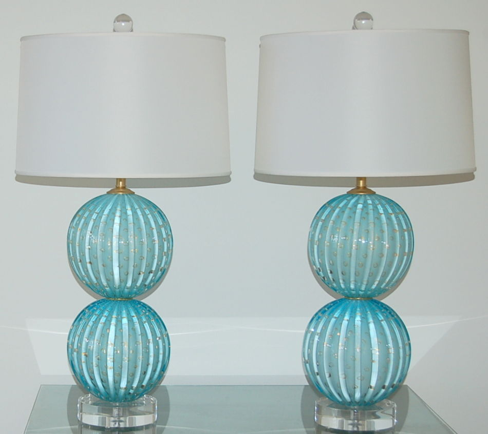 stacked two ball murano lamps in dreamy blue with gold. Black Bedroom Furniture Sets. Home Design Ideas
