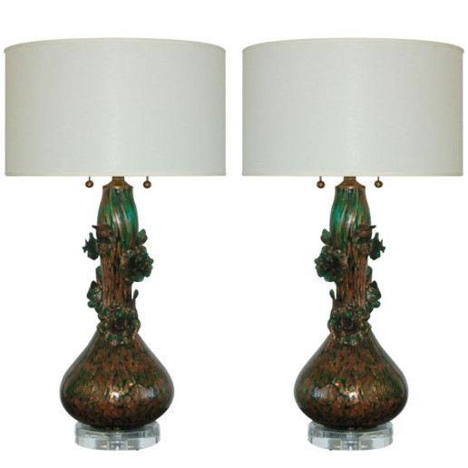 Marbro Lamp Company - Murano Lamps of Green and Copper