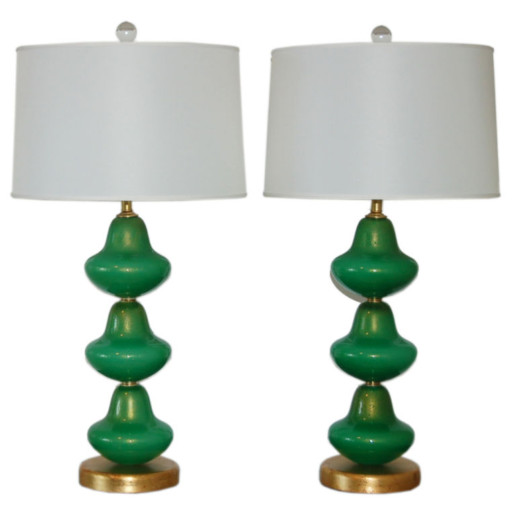 Vintage Murano Stacked Pagoda Lamps of Jade