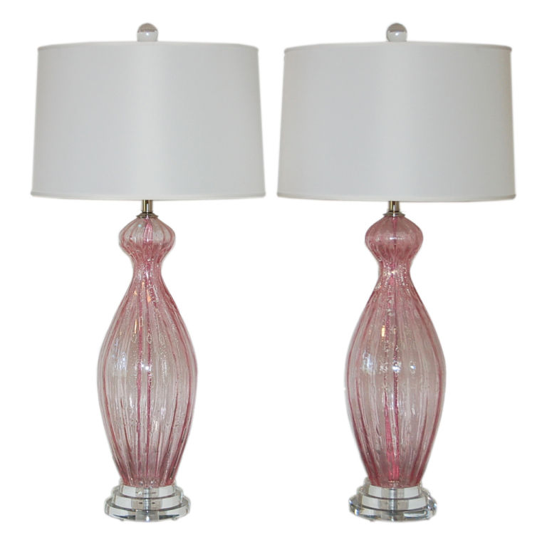 Delightful Vintage Murano Lamps In Pale Pink With Silver Inclusion