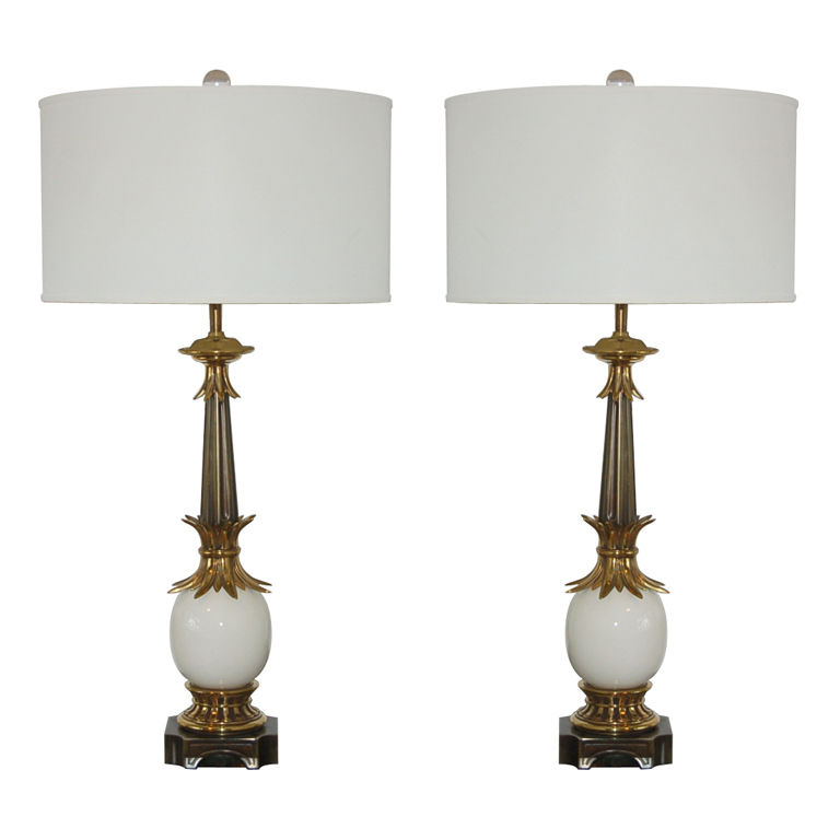 White pair of vintage stiffel ostrich egg lamps