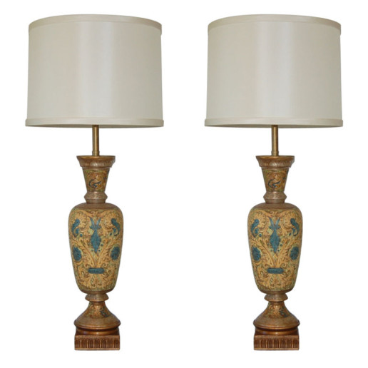 Monumental Carved Ceramic Lamps by The Marbro Lamp Company