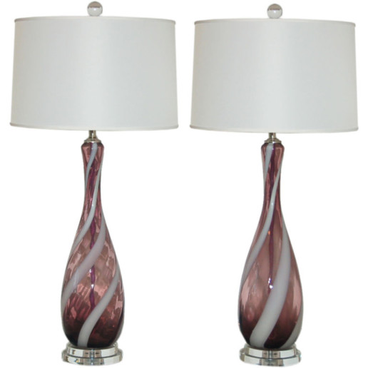 Vintage Italian Glass Lamps in Grape with White Ribbon Swirl