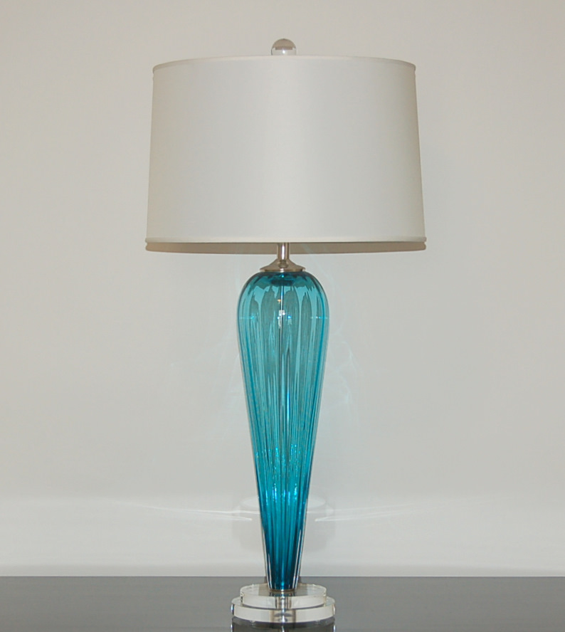 hand blown lighting. Hand Blown Pair Of Glass Lamps By Joe Cariati In Teal Lighting