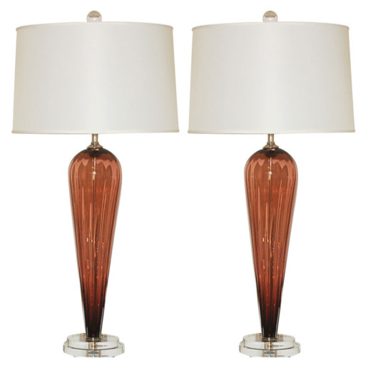 Hand Blown Pair of Glass Lamps by Joe Cariati in Rust