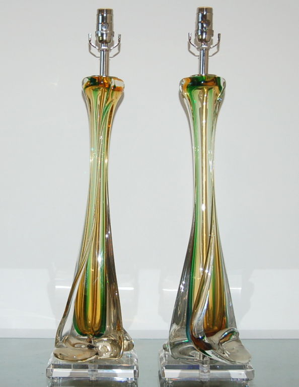 Huge Vintage Murano Sommerso Glass Lamps By Seguso Swank