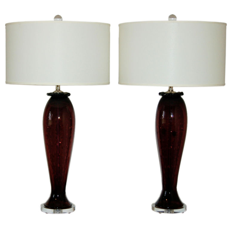 Vintage murano table lamps of aubergine with controlled bubbles vintage murano table lamps of aubergine mozeypictures Image collections