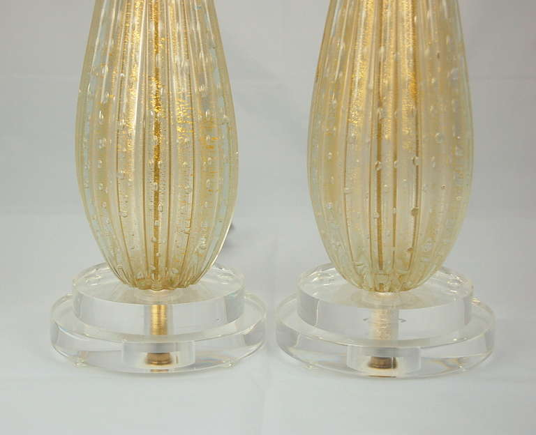 Pair Of Classic Vintage Murano Lamps In Champagne Swank