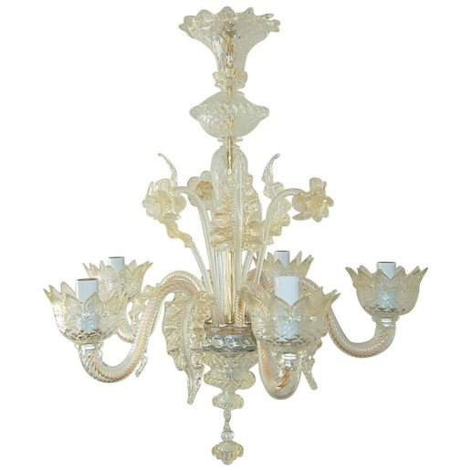 Vintage Murano Glass Chandelier of Murano Crystal with Gold Inclusion -  Swank Lighting - Vintage Murano Glass Chandelier Of Murano Crystal With Gold