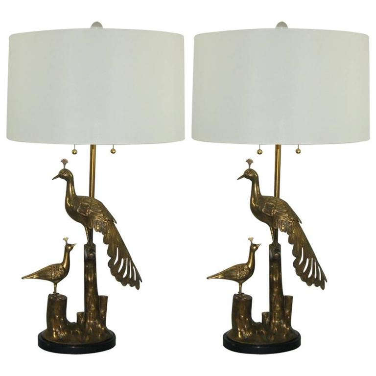 Nice Brass Marbro Peacock Lamps Matched Pair