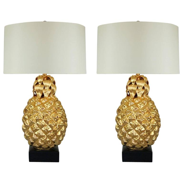 Marbro pineapple table lamps of gold leaf swank lighting marbro pineapple table lamps of gold leaf aloadofball Images
