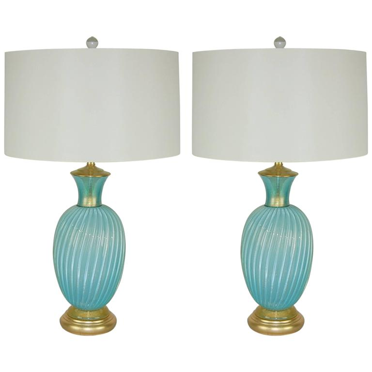 Murano Vintage Glass Table Lamps By Seguso Blue Gold