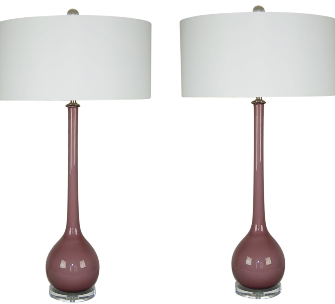 Vintage Murano Long Neck Glass Table Lamps Lavender