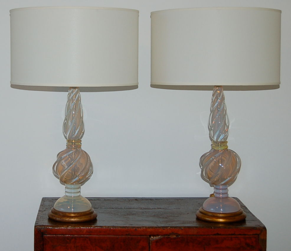 Marbro Vintage Murano Opaline Glass Table Lamps White