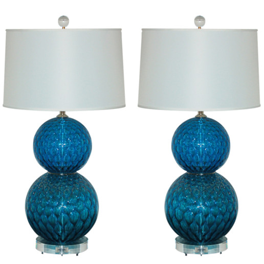Pair of Vintage Murano Stacked Ball Lamps