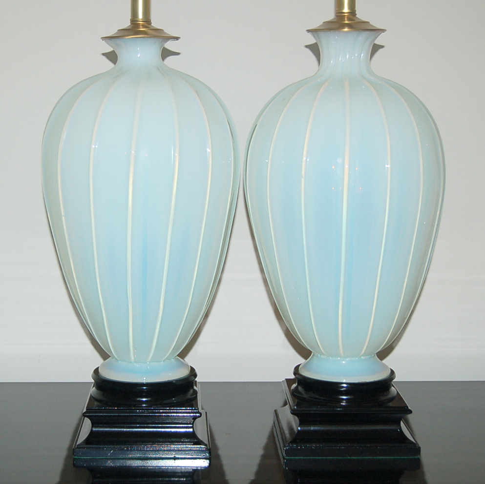 Lighting Lamp: Pair Of Vintage White Opaline Murano Lamps By The Marbro