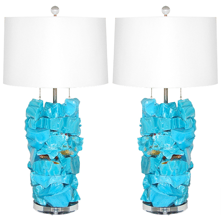 Rock Candy Gl Table Lamps In Sky Blue