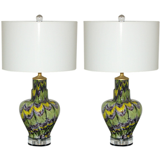 Pair of Extremely Rare Vintage Murano Lamps with Peacock Colors