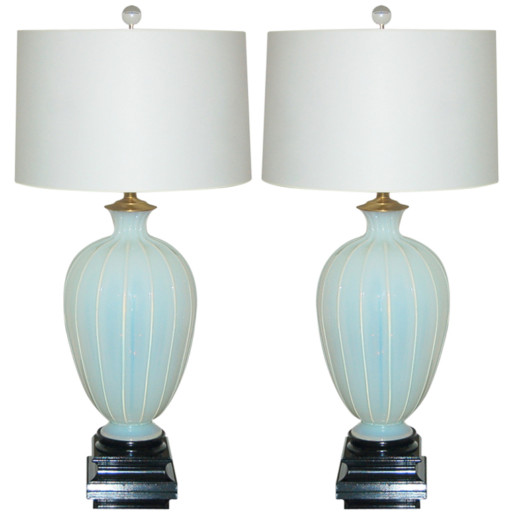 Pair of Vintage White Opaline Murano Lamps by The Marbro Lamp Company