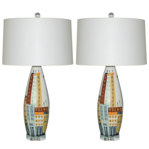 Vintage Italian Ceramic City Scape Lamps by Bitossi