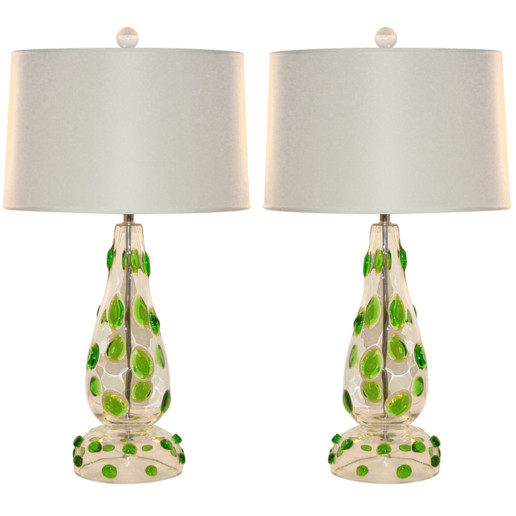 Emerald Green Prunts Covering Clear Vintage Murano Lamps