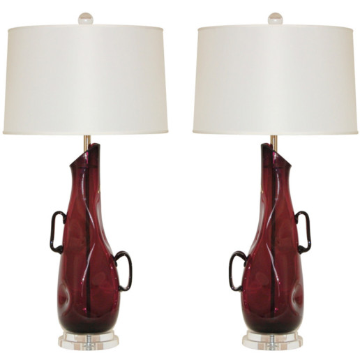 Vintage Sculptural Murano Lamps in Deep Aubergine