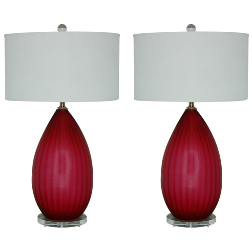 Monumental Vintage Murano Lamps in Crimson Berry
