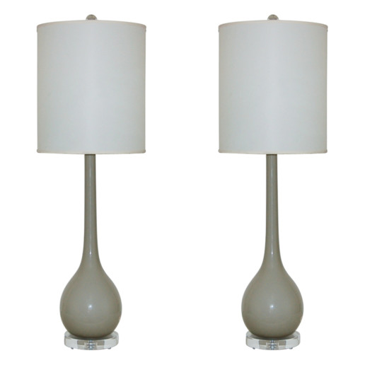 Murano Long Neck Table Lamps in Dove Gray