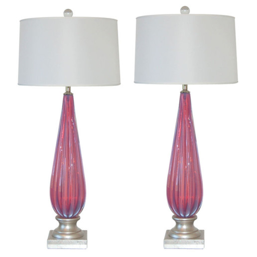 Vintage Murano Lamps In Lavender Pink Opaline