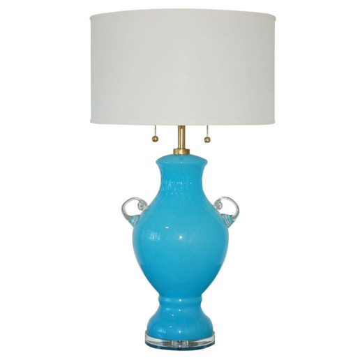 Sky Blue Vintage Murano Glass Urn Lamp With Handles
