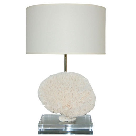 Sculptural Table Coral Lamp on Lucite Block with Swank Mount