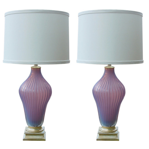 Marbro Lamp Company - Murano Lamps of Lilac Opaline