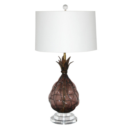 Pineapple Murano Caged Glass Lamp in Amethyst