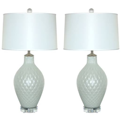 Pulegoso Murano Lamps in Diamond Pattern