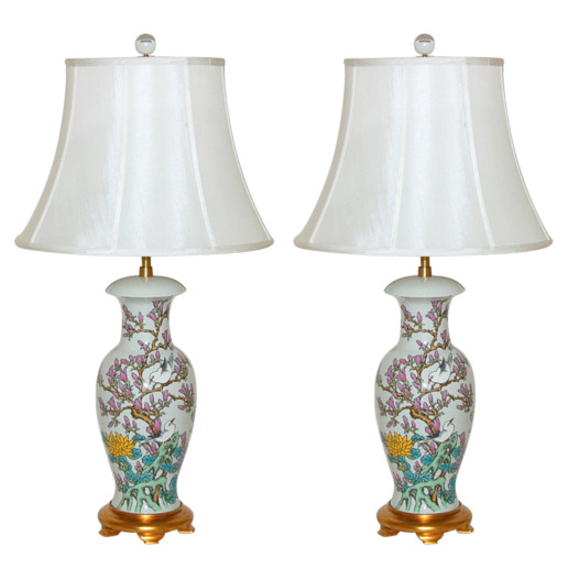 The Marbro Lamp Company - Pair of Hand Painted Porcelain Lamps
